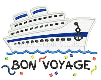 Cruise Ship Bon Voyage Applique Machine Embroidery Design boat family vacation nautical vehicle INSTANT DOWNLOAD