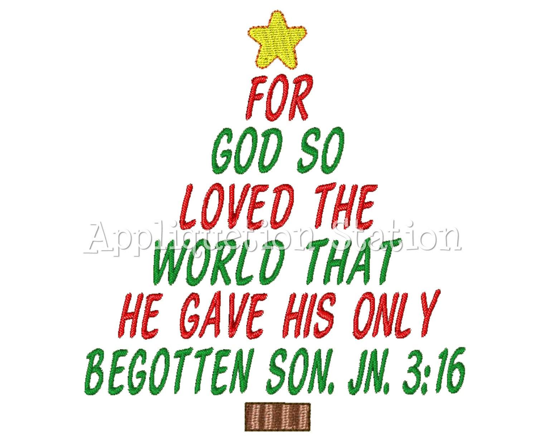 Christmas Tree John 3:16 Machine Embroidery Design Holiday   Etsy