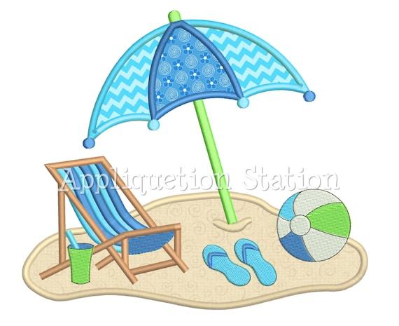 Beach Chair Umbrella Scene Applique Machine Embroidery Design Pattern ball  sandals nautical ocean beach INSTANT DOWNLOAD
