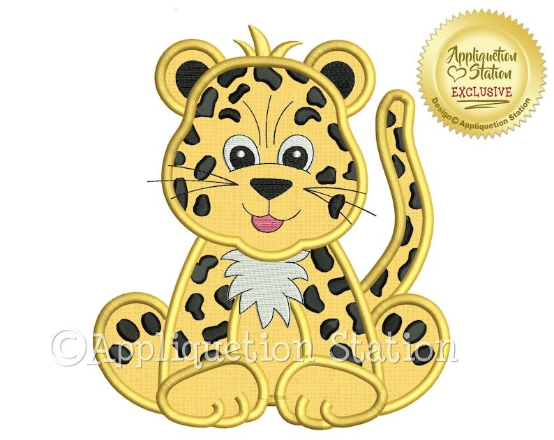 2f62a5d88c5 Zoo Baby Leopard Applique Machine Embroidery Design Jungle Boy | Etsy