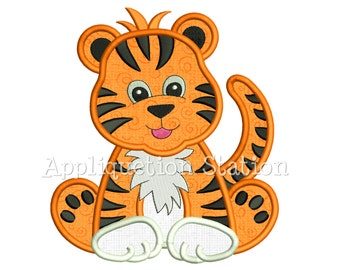 Zoo Baby Tiger Cub Applique Machine Embroidery Design Jungle Safari Boy Cute animal INSTANT DOWNLOAD