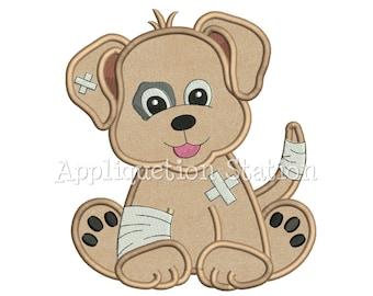 Cute Baby Injured Puppy Get Well Applique Machine Embroidery Design Pattern Dog Hurt Boy Girl Dog Hurt broken leg animal INSTANT DOWNLOAD