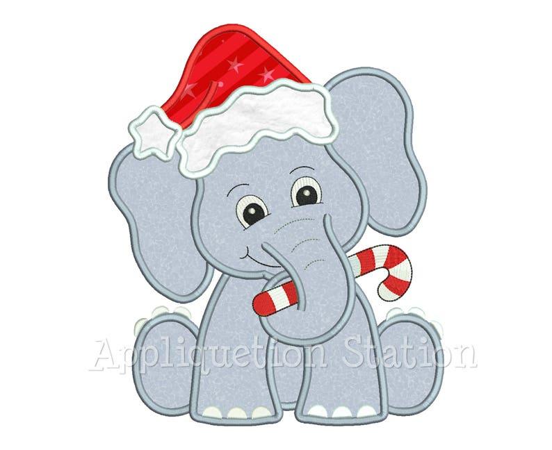 dd6c1ecb6db21 Christmas Elephant with Santa Hat Applique Machine Embroidery