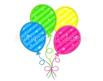 4 Birthday Balloon Number Applique Machine Embroidery Design fourth Four INSTANT DOWNLOAD
