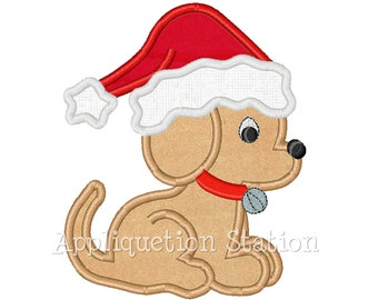 Puppy with Santa Hat Applique Machine Embroidery Design Jingle Bell Christmas Holiday INSTANT DOWNLOAD