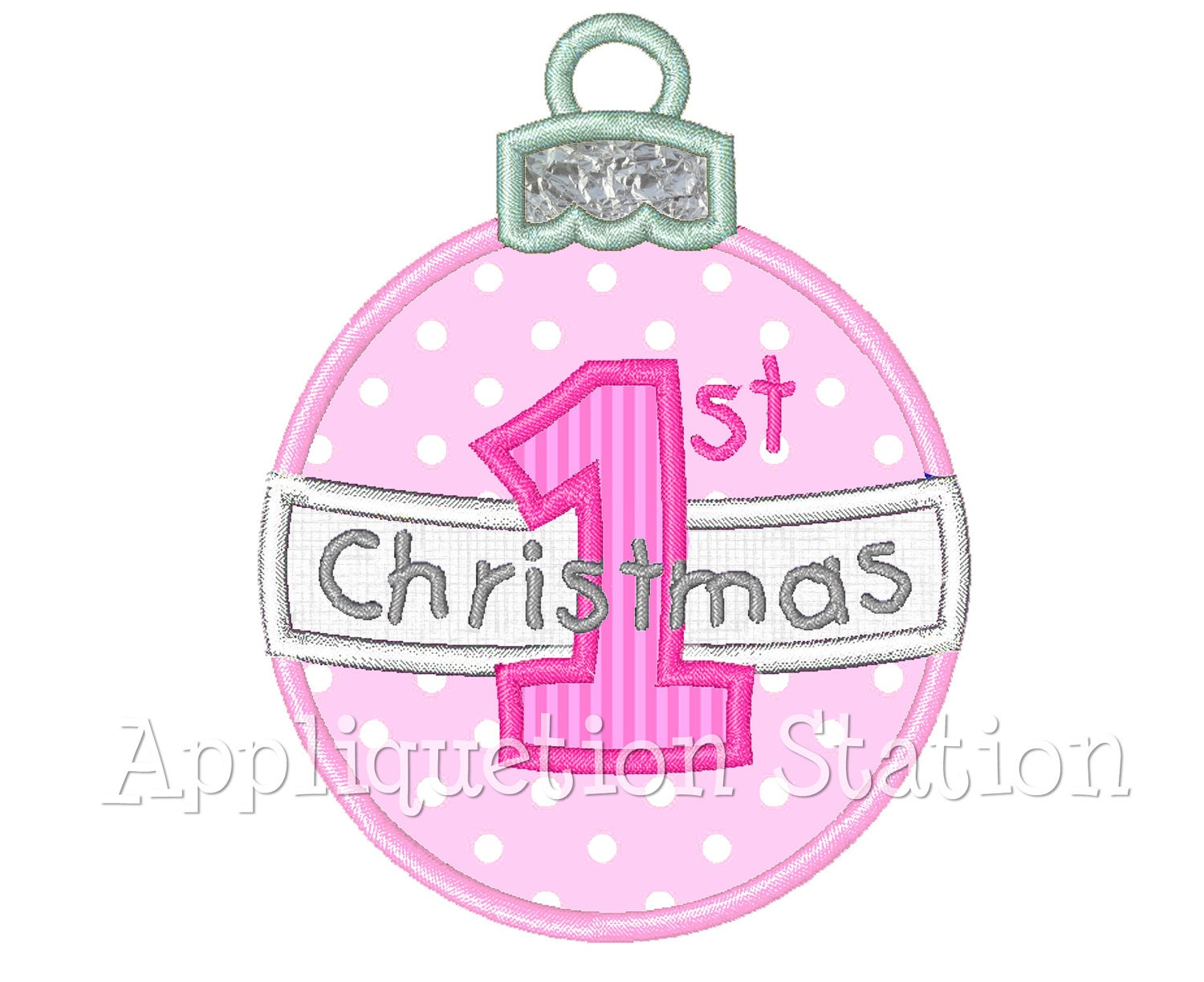 Baby S First Christmas Ornament Round Applique Machine Etsy