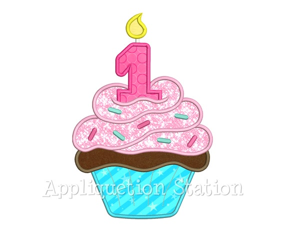 Birthday Cupcake Candle Number 1 Applique Machine Embroidery