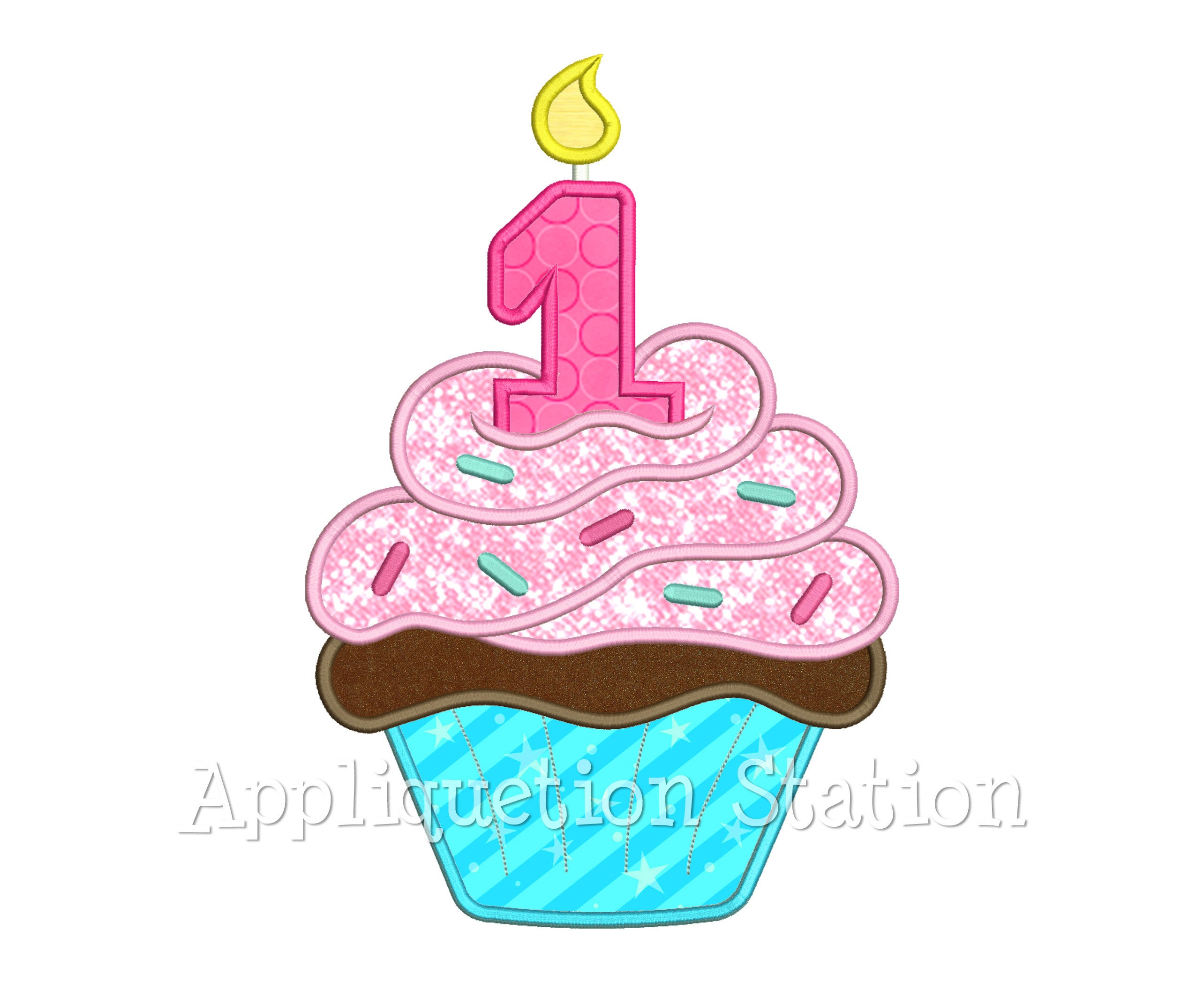 Birthday Cupcake Candle Number 1 Applique Machine Embroidery Etsy