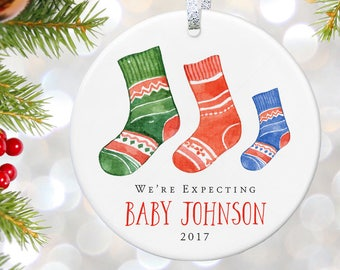 We're Expecting Ornament, Pregnancy Reveal, New Baby Reveal, Baby Announcement Ornament, Pregnancy Ornament, New Baby Ornament