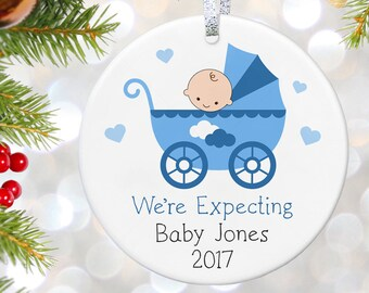 We're Expecting Ornament, Expecting Baby Ornament, Pregnancy Reveal Ornament, Baby Announcement Gift, Christmas Ornaments