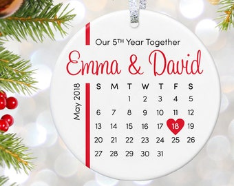 5th Anniversary Gift, Anniversary Ornament 5 Year Anniversary Gifts, 10th Anniversary Present, Custom Anniversary Gift for Him