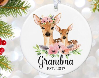 Pregnancy Announcement for Grandma Grandparents Reveal Gender Reveal Christmas Ornament New Grandparents to be Gift for New Grandma Ornament