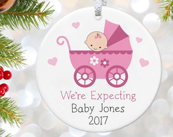 Baby Announcement Ornament, Pregnancy Ornament, New Baby Ornament, We're Expecting Ornament, Christmas Ornament, Baby Shower Gift