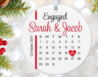 Engaged Ornament Engagement Gift Custom Ornament Engagement Announcement We're Engaged Couples Ornament