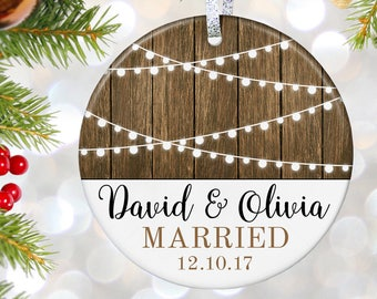 Rustic Wedding Gift First Christmas as Mr & Mrs Ornament Our First Christmas Married Ornament Newlywed Christmas Ornament Wedding Ornament