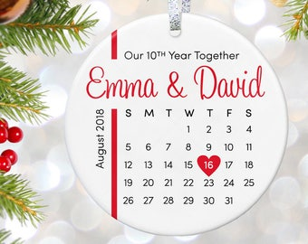 10th Anniversary Ornament, Wedding Ornament Christmas Gift for 1st Anniversary Gift Ceramic Ornament Personalized Holiday Gift for Couple