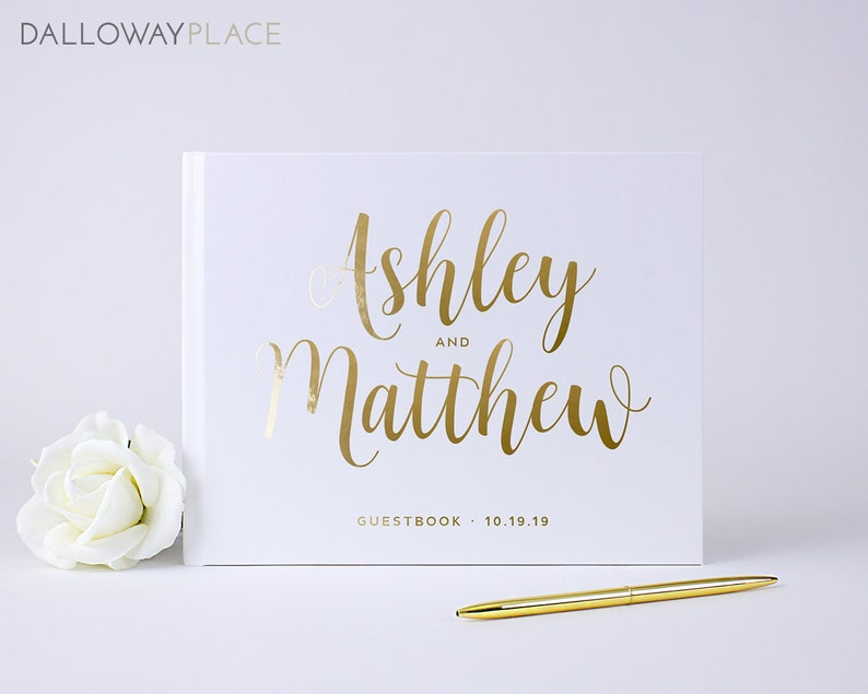 Personalized Wedding Guest Book.Personalized Wedding Guest Book With Gold Embossing Elegant Hardbound Book Custom Wedding Guestbook Idea Gold Silver Foil Colors