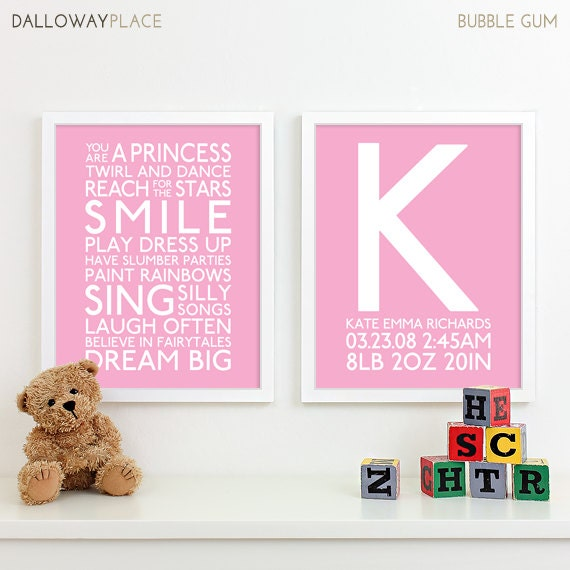 Baby Girl Nursery Art Print Playroom Rules Subway Art Quotes Etsy