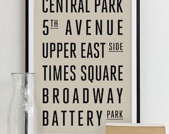 Subway Sign Art Bus Roll Typography Poster - Subway Print NEW YORK City