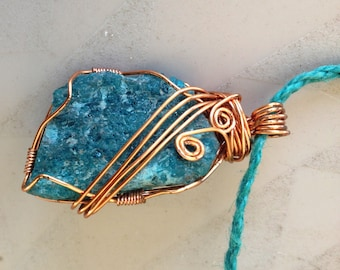 Pendant Blue Chrysocolla Wrapped In Copper