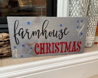 Farmhouse Christmas  Handmade Wood Sign