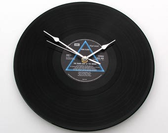 """Pink Floyd CLOCK made from recycled 12"""" vinyl record, LP, Dark Side Of The Moon. Reproduction Gift. Recycled record Gift men women prog rock"""
