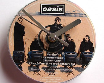 """OASIS DAY CD Clock, """"Roll With It"""", Recycled music cd single, Gift for, men, women, guys, rockers"""