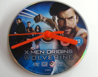 Wolverine DVD CLOCK. Made from a recycled movie dvd, X Men origins movie, gift for men, women, Hugh Jackman, comic book, action hero, boys