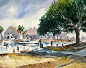 Summer in Huntington Harbor Original Watercolor