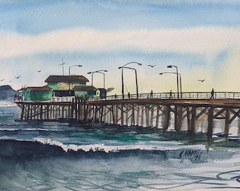 Seal Beach Pier Watercolor