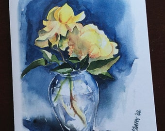 Yellow Roses in Vase Note Cards