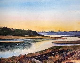 Newport Back Bay Original Watercolor