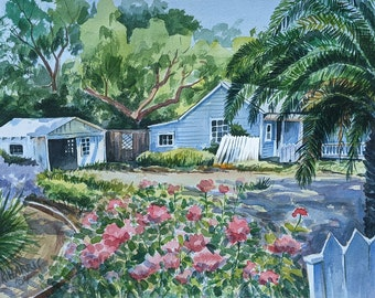 Central California House Original Watercolor