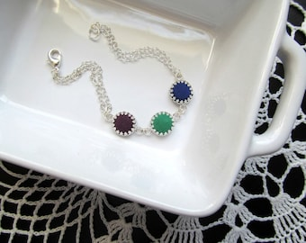 Customized Colors Birthstone Bracelet - Sterling Silver Personalized Filigree Charm Bracelet