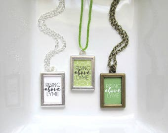 Lyme Disease Necklace - Rising Above Lyme Awareness Support Encouragement Jewelry - Silver or Bronze Dainty Framed Necklace - Katya Valera