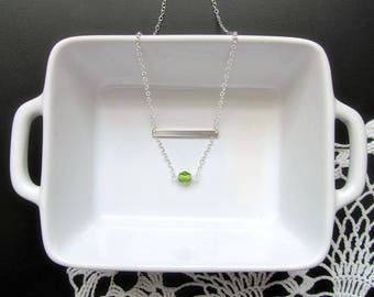 Lyme Disease Awareness Necklace - Minimalist Silver Bar and Lime Necklace - Lyme Encouragement Jewelry - Rising Above Lyme - Katya Valera