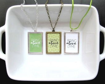 Rising Above Lyme Necklace - Lyme Disease Awareness Support Encouragement Jewelry - Silver or Bronze Framed Necklace - Katya Valera