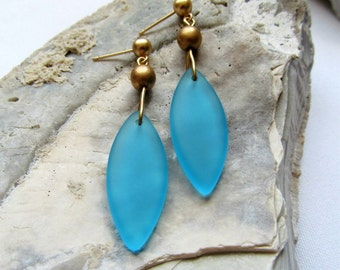 Turquoise Blue Sea Glass Teardrop Earrings on Matte Gold Posts - Gold and Blue Drop Earrings - Golden Waves