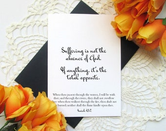 """Scripture Sympathy Card - Isaiah 43:2 Suffering Encouragement Card - Blank Inside 5x7"""" Greeting Card"""