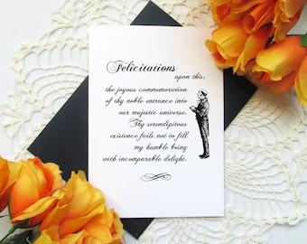 "Funny British Jane Austen Birthday Card - Formal English Birthday Greeting Card - Felicitations - 5x7"" Blank Inside Card"