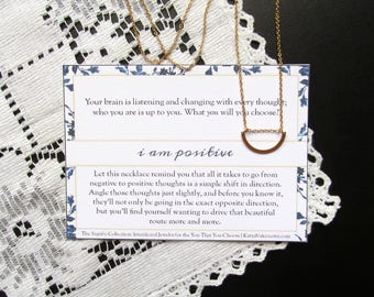 Gold Curved Bar Necklace - Minimalist Layering Necklace - Positivity Affirmation Intention - Neuroplasticity - I AM POSITIVE - Katya Valera