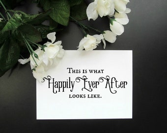 """Happily Ever After Wall Decor - Newlyweds Anniversary Rustic Sign - 8x10"""" or 5x7"""" Print"""