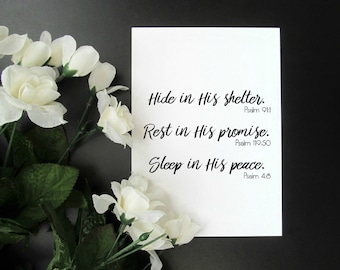 """Scripture Encouragement Print - Hide, Rest, Sleep in His Peace Inspirational 5x7"""" or 8x10"""" Quote Print"""