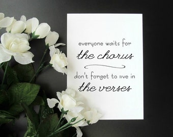 """Live in the Verses - Music Quote Wall Decor - Minimalist Black and White 5x7"""" or 8x10"""" Print"""