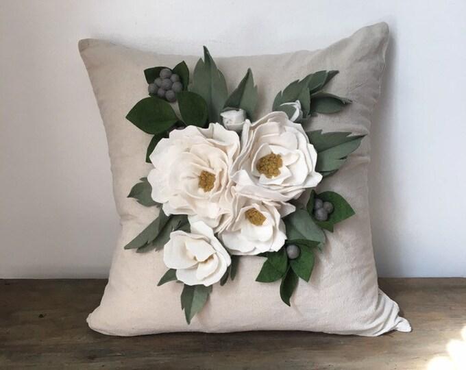 White peony theow pillow