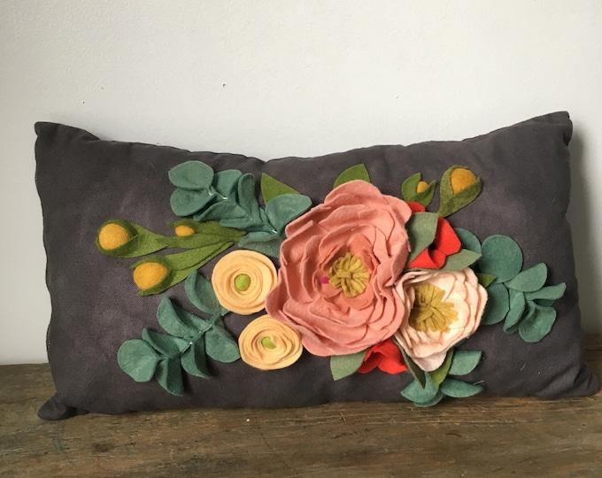 Felt floral lumbar pillow