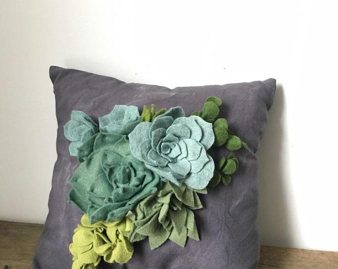 Felt succulent accent pillow