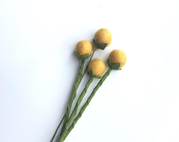 Felt Billy Balls / craspedia- Build your own Bouquet - Felt Flowers A La Carte