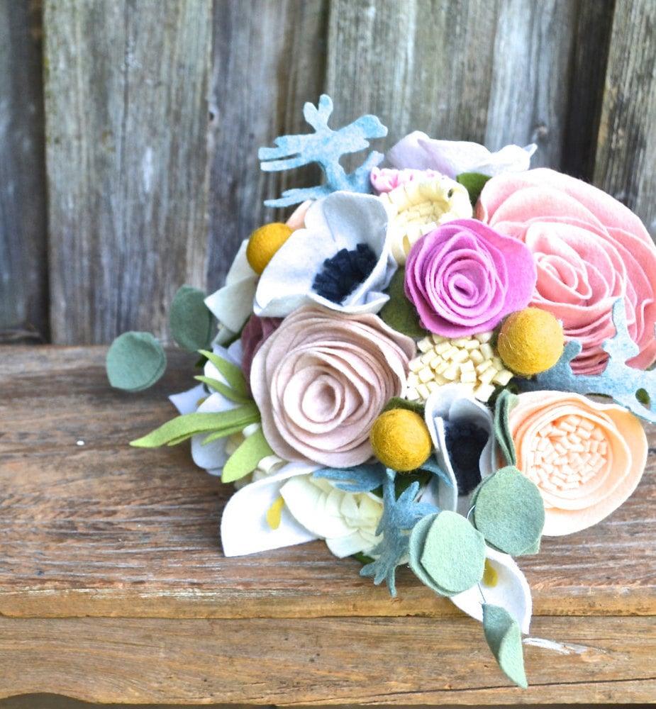 Felt Flower Bridal Bouquet Custom Made To Order