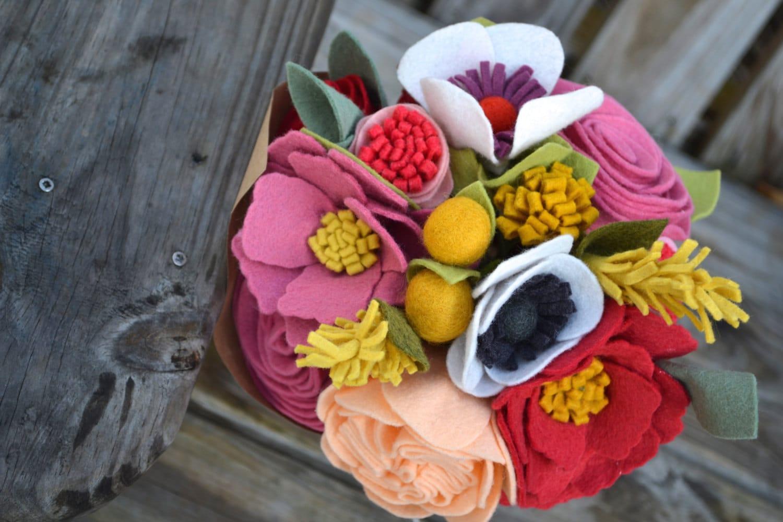 Felt Flower bouquet - bride, bridesmaids, table flowers, special ...